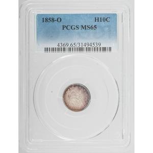 United States Liberty Seated Dime 1858-O, PCGS MS65