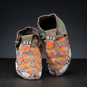 Sioux Beaded and Quilled Buffalo Hide Moccasins