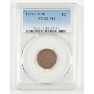 United States Lincoln Wheat Ears Reverse Penny 1909-S VDB, PCGS F12