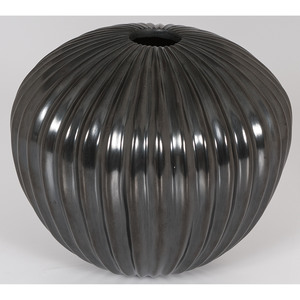 Heeter Ortega (Mata Ortiz, 20th century) Blackware Melon Pottery Jar; From the Collection of Charles McNutt, Sr