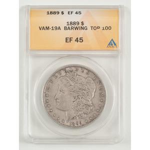 United States Morgan Silver Dollar 1889, ANACS EF45, VAM-19A Barwing