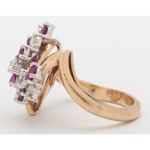 H.L. Manufacturing Cluster Ring in 14 Karat Two-Tone Gold