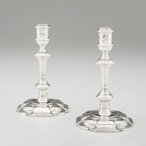George II Sterling Candlesticks, James Gould