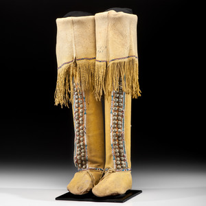Comanche Beaded Hide Hightop Boot Moccasins, From the Rafter 3 Ranch, Coleman Texas