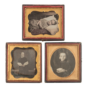 Lot of Three Possible Postmortem Daguerreotypes of Children