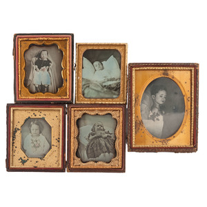 Lot of Five Postmortem Daguerreotypes of Children With Flowers