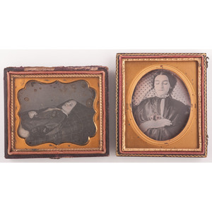 Postmortem Daguerreotypes of Young Women, Lot of Two