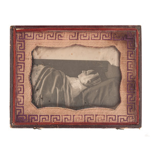 Half Plate Postmortem Daguerreotype of an Elderly Woman with Cloth Mat