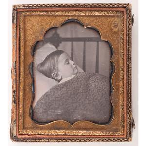 Postmortem Daguerreotype of a Child in Bed