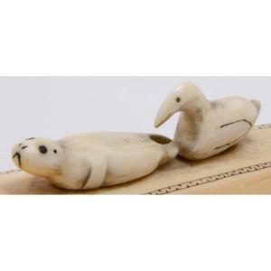 Alaskan Eskimo Carved Walrus Ivory Cribbage Board