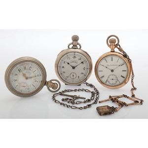 Elgin and Waltham Open Face Pocket Watches, Lot of Three