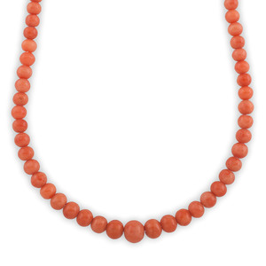 Victorian Graduated Coral Bead Necklace