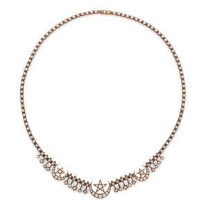 Victorian 15 Karat Gold Seed Pearl Necklace