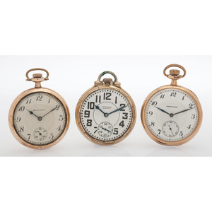 South Bend, Hamilton and Waltham Open Face Pocket Watches, Lot of Three