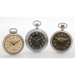 Novelty Open Face Pocket Watches, Lot of Three
