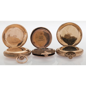Hunter Case Pocket Watches in Gold Filled Cases, Lot of Five