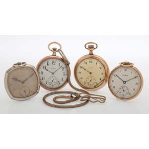 Open Face Pocket Watches in Gold Filled Cases, Lot of Four