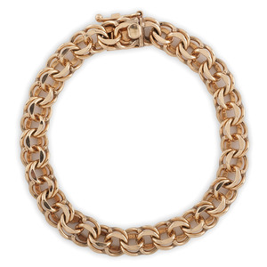14 Karat Yellow Gold Double Link Bracelet