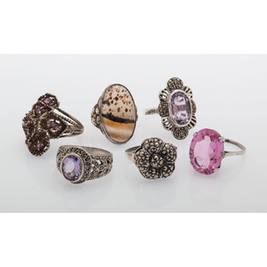 Sterling Silver Gemstone Rings, Lot of Six