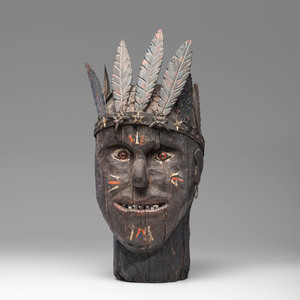 Monumental Folk Art Carved Indian Head
