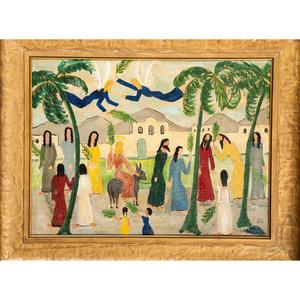 Folk Art Oil on Board, Palm Sunday