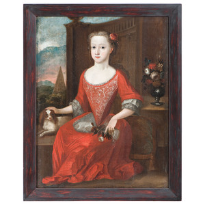 English School, 18th Century, A Portrait of a Girl with Spaniel