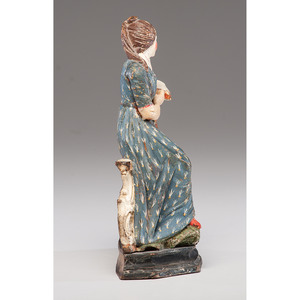 Carved and Polychrome Painted Figural Watch Hutch