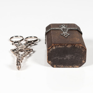 Silver-Mounted Etui or Lady's Companion and Sterling Tongs