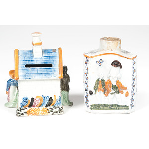 Pearlware Tea Caddy and Staffordshire House Bank