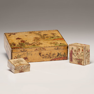 Early English Chinoiserie Painted Boxes, Signed and Dated