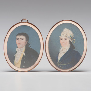 Late 18th Century Kentucky Oval Portrait Miniatures of Gerard and Sarah Strother Banks