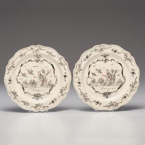 Dutch-Decorated English Creamware Plates