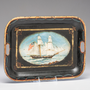 American Tole Tray with Sailing Ship