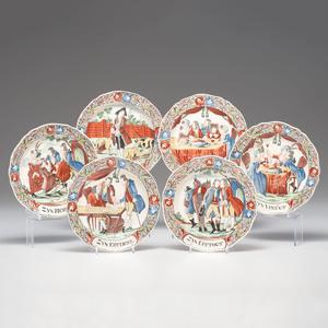 Dutch-Decorated English Creamware Prodigal Son Plates