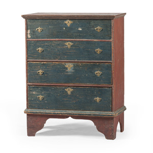 New England Painted Queen Anne Blanket Chest