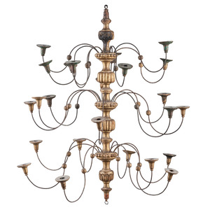 Carved and Turned Triple Tiered Gilt Chandelier