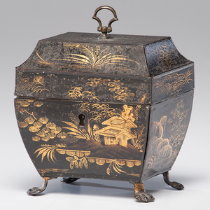 Continental Chinoiserie Tole Tea Caddy
