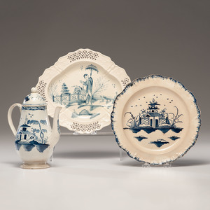 English Chinoiserie Pearlware Coffee Pot, Plate and Dish