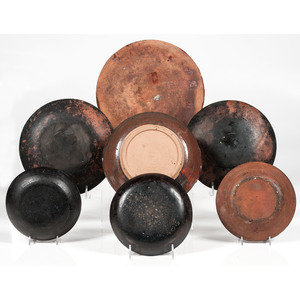 Redware Pottery Bowls and Plates
