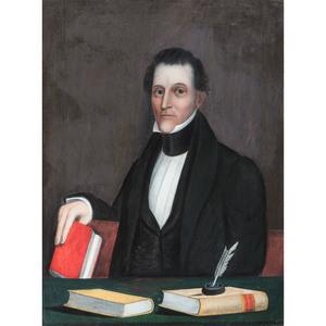 American School, Folk Art Portrait of a Man with Books