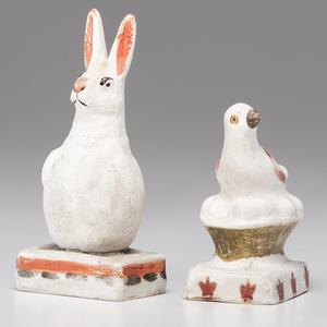 Chalkware Bird on a Nest and Rabbit