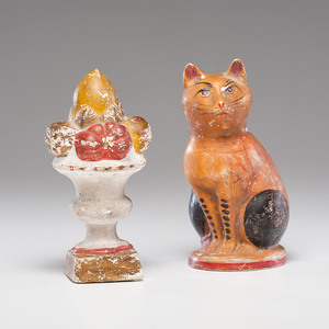 Chalkware Cat and Garniture Urn