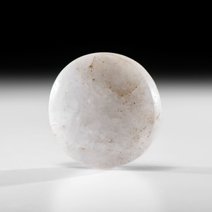 A Translucent White Quartz Biscuit Discoidal, 3-1/2 in.