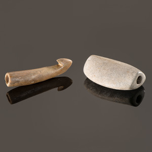An Expanded Center Bottle Bannerstone and Associated Antler Atlatl Hook, Longest 3-3/4 in.