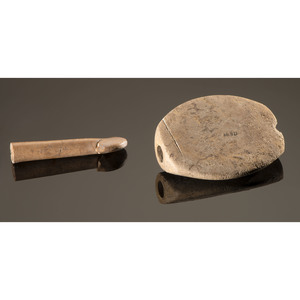 An Expanded Center Bottler Bannerstone AND Associated Antler Atlatl Hook, Longest 3-5/8 in.
