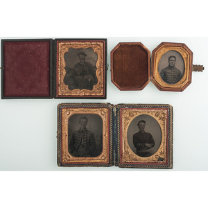 Lot of Four Civil War Tintypes of Soldiers, Including Musicians