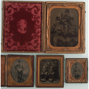 Lot of Four Tintypes of Military and Civilian Marching Bands