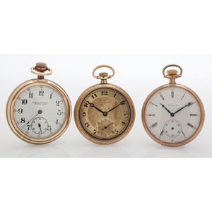 Zenith, Illinois and Elgin Open Face Pocket Watches