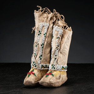 Sioux Child's Beaded Hide Hightop Moccasins, Collected by Gustav