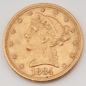 United States Liberty Head Half Eagle 1884
